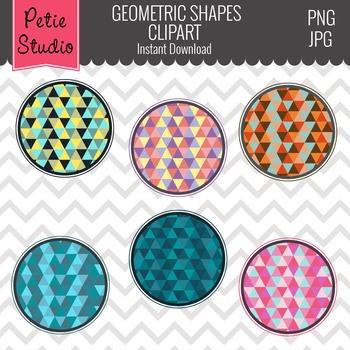 Geometric Pattern Digital Circle Frames, Geometric Shapes Pattern - Labels103