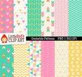 Geometric Pattern Digital Papers - Pink Green Yellow