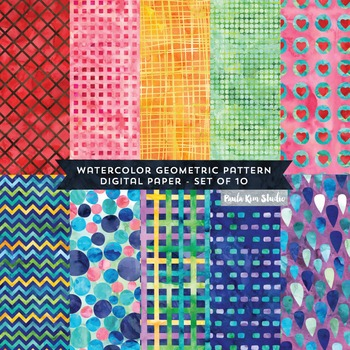 Geometric Pattern Mix Watercolor Digital Paper
