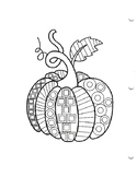 Geometric Pattern Pumpkin Coloring Sheet