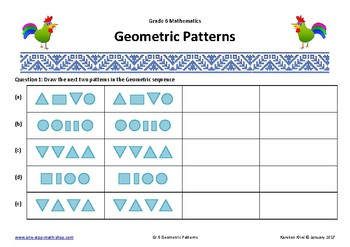 geometric patterns grade 6 by karelien 39 s one stop math. Black Bedroom Furniture Sets. Home Design Ideas