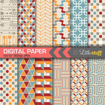 Geometric Patterns Digital Paper, Blue, Cranberry Red, Orange