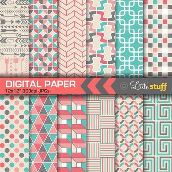 Geometric Patterns Digital Paper, Turquoise, Pink, Gray