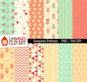 "Geometric Patterns Digital Papers - ""Blossom"" Color Scheme"