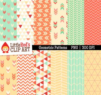 "Geometric Patterns Digital Papers - ""Blossom"" Color Scheme"