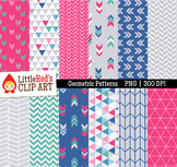 """Geometric Patterns Digital Papers - """"Cosmos"""" Color Scheme"""