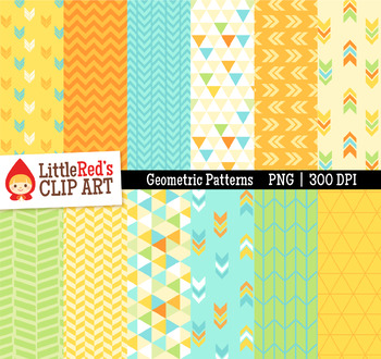 Geometric Patterns Digital Papers - Yellow, Green