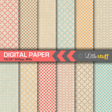 Geometric Patterns on Natural Kraft Background Digital Paper Pack (Set 1)
