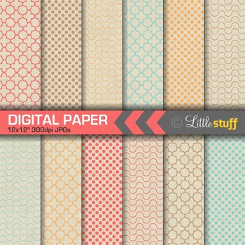 Geometric Patterns on Natural Kraft Background Digital Paper Pack (Set 1)