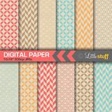 Geometric Patterns on Natural Kraft Background Digital Paper Pack (Set 2)