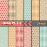Geometric Patterns on Natural Kraft Background Digital Paper Pack (Set 3)