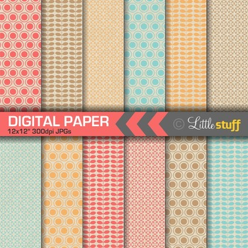 Geometric Patterns on Natural Kraft Background Digital Paper Pack (Set 3)