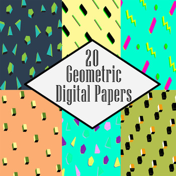 Geometric Patterns with 3D Shapes Digital Papers - Pastels & Neon Colors
