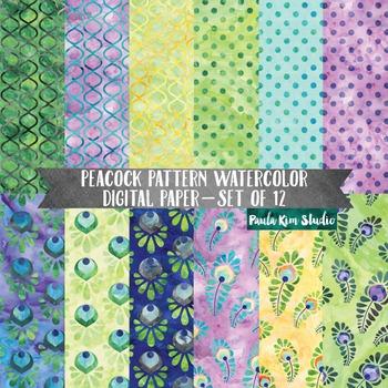 Geometric Peacock Watercolor Digital Paper