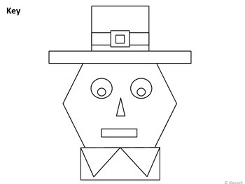 Thanksgiving Geometric Pilgrim Boy 2D Shapes