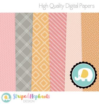 Geometric Pink and Orange Digital Papers