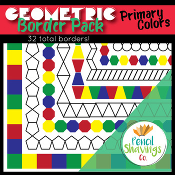 Geometric Primary Color Border Pack (32 Total Borders!)