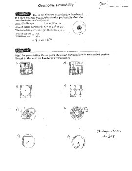 Geometric Probability, Great Geometry Double Sided Worksheet w/ Area Sectors