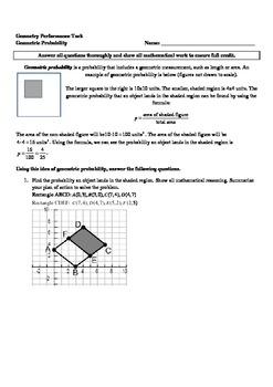 Geometric Probability Performance Task