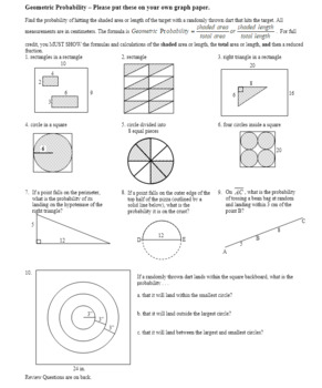 Geometric Probability Worksheet Spring 2012 (Editable)
