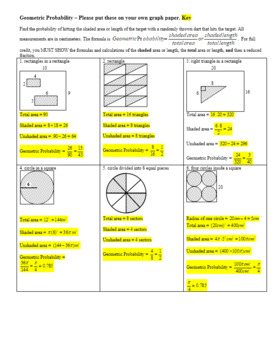 Geometric Probability Worksheet Spring 2012 with Answer Key (Editable)