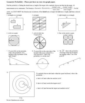Geometric Probability Worksheet Spring 2012