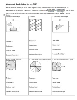 Geometric Probability Worksheet Spring 2013 (Editable) by Peter Jonnard