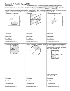 Geometric Probability Worksheet Spring 2014 (Editable)