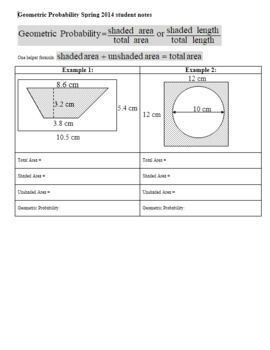 Geometric Probability Worksheet Spring 2014 Student Notes (Editable)