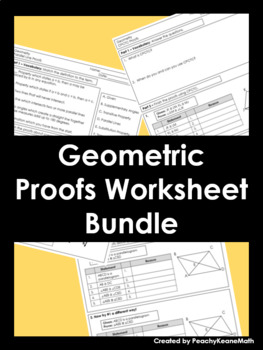 Geometric Proofs Worksheets Bundle