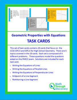 Geometric Properties of Equations Task Cards