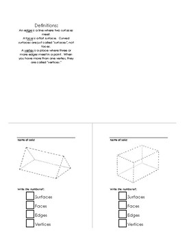 Geometric Properties of Solids Fill-in Booklet, with answer key