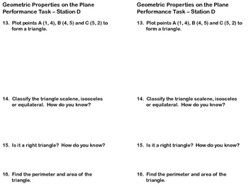 Geometric Properties on a Plane Review Station Task Cards