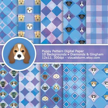 Geometric Puppy Digital Paper, Gingham & Diamonds, blue/purple dog printable