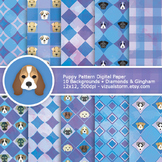 Geometric Puppy Digital Paper, Gingham & Diamonds, blue/pu