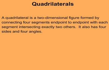 Geometric Relationships:  Quadrilaterals & Transformations