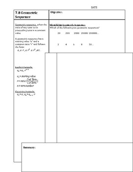 Geometric Sequence Guided Notes