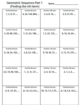 Geometric Sequence Worksheet (Finding the nth Term)