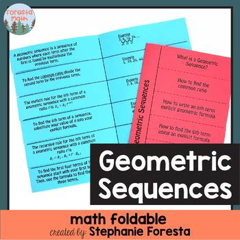 Geometric Sequences Foldable
