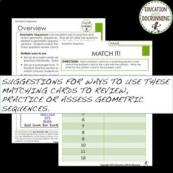 Geometric Sequences Task Card Activity