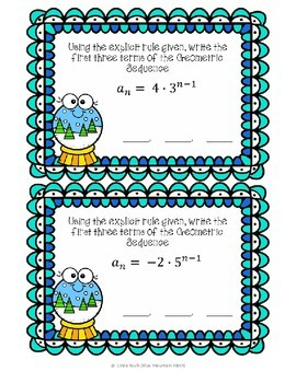 Geometric Sequences-- Terms from Explicit Rules  Boom Cards--Digital Task Cards