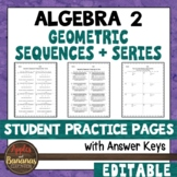 Geometric Series and Sequences - Student Practice Pages