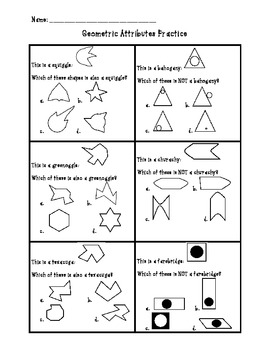 Geometric Shape Attributes with Nonsense Shapes