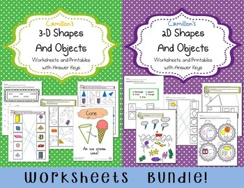 2D and 3D Shapes Worksheets with Answer Keys, 2D and 3D Shape Activities