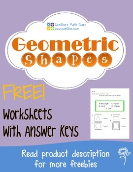 Free Geometric Shapes Worksheets with Answer Keys