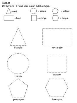 geometric shapes 2d trace and color by sunsational in second grade. Black Bedroom Furniture Sets. Home Design Ideas