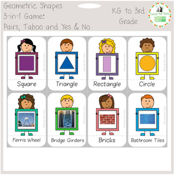 Geometry Shapes 3-in-1 Game: Pairs, Yes & No Game and Taboo