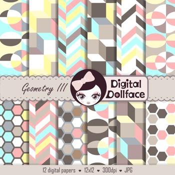 Geometric Shapes Digital Paper / Background Scrapbook Patterns