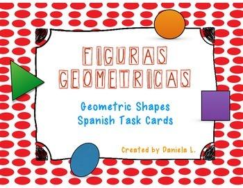 Math Task Cards Geometric Shapes / Figuras geometricas Spanish ONLY