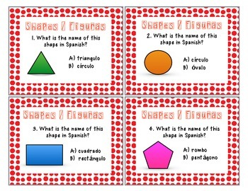 Math Task Cards Geometric Shapes / Figuras geometricas Spanish (Bilingual)